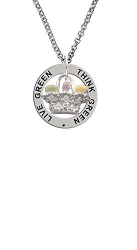 Easter Egg Basket - Live Green Think Green Affirmation Ring Necklace