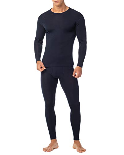 LAPASA Men's 100% Merino Wool Thermal Underwear Long John Set Lightweight Base Layer Top and Bottom M31 (XX-Large, Navy)