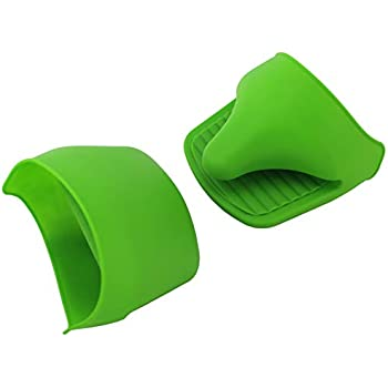 VINSTAR Silicone Mini Oven Mitts/Gripper, Set of 2 (Green) ...