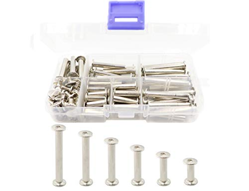 LBY 120pcs Phillips Chicago Screw Binding Screw Post M5 x 15 /20/ 25 /30/35/40mm Book Screws and Leather Saddles Purses Belt Repair Bookbinding Rivet Nickel-plated Silver 60-Sets ()