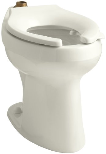 KOHLER K-4405-L-96 Highline(R) 1.6 or 1.28 GPF Flushometer Valve Comfort Heigh(R) ADA Elongated Toilet Bowl with Bedpan Lugs, Without Seat, Biscuit Biscuit (Kohler Touchless Faucet Kitchen)