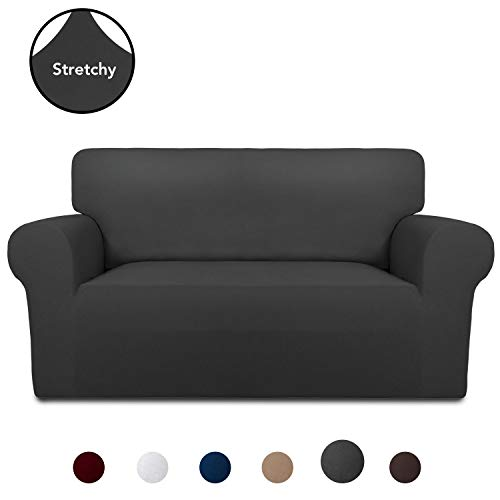 PureFit Super Stretch Chair Sofa Slipcover - Spandex Non Slip Soft Couch Sofa Cover, Washable Furniture Protector with Non Skid Foam and Elastic Bottom for Kids, Pets (Loveseat, Dark Gray)