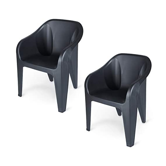Supreme Futura Plastic Chairs for Home and Office (Set of 2, Black)
