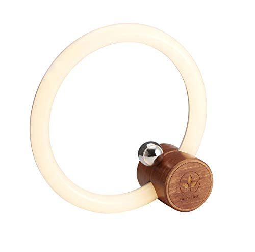 Green First |Orbit Dimmable Adjustable LED Ring Light Desktop Decor With Wood Base Touch Switch Table Lamp with Usb Cable.Brightness,3000K-4000K-5000K Available,Bedside lamp,Selfie Light/Xmas Gift -