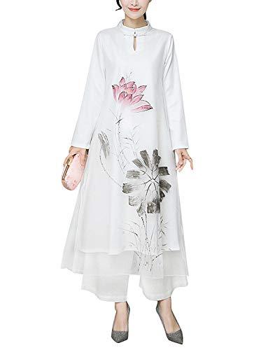 (HÖTER Women's Oriental Beauty Folk Style Qipao Slim Dress Short Sleeve Printed Vintage Chinese Silk Cheongsam(S-XL))
