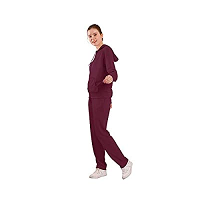 Leehanton Womens Tracksuit Set Athletic Solid Outdoor Zip Up Hoodie and Sweatpant 2 Pieces Sweatsuit at Women's Clothing store