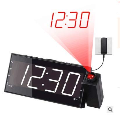 Konesky Projection FM Alarm Clock, Multi-Function LED Large Display Projector Clock with Charger Powered Rotate Alarm Clock for Home Bedroom Decor