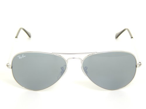 New Ray Ban Aviator RB3025 W3275 Silver Crystal Grey Mirror 55mm Sunglasses (55mm Ray Ban Aviators)