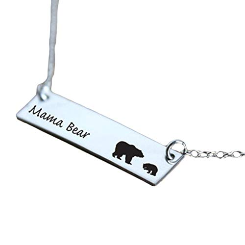 Mama Pendant 1 (Necklace Opeof Cute Family Love Mama and Baby Bear Carved Pendant Necklace Mother's Day Gift - Mama Bear + One Baby Bear)
