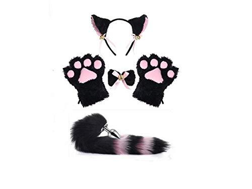 Black with Pink Cat Fox Ears Cosplay Costume Kitten Plush Tail Headband Paws Lolita Anime Gothic Set -