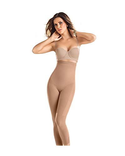 Leonisa Invisible Tummy Control Bodysuit Shapewear Leggings for Women with Leg Compression Shorts,Beige,L-XL