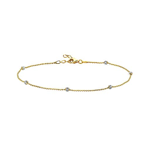 Pori Jewelers Sterling Silver Rice Moon Cut Ball Bead Anklet - Women (Two Tone Gold/Silver, - Gold Two Tone Anklet