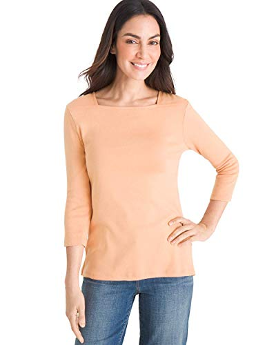 Chico's Women's Supima Cotton Side-Button Bateau-Neck Top Size 20/22 XXL (4) Soft Nectarine ()