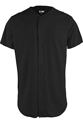 OLLIE ARNES Men's Athletic-Inspired Basic Button-Down Baseball Jersey Plain_Black - Baseball Black Jersey