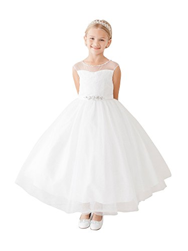 Tip Top Kids Little Girls White Illusion Neck Beaded Lace Belted Flower Girl Dress 6