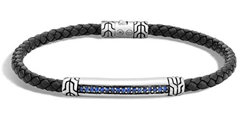 John Hardy Classic Chain Blue Sapphire, Sterling Silver and Black Leather, 7 3/4 Inches Length