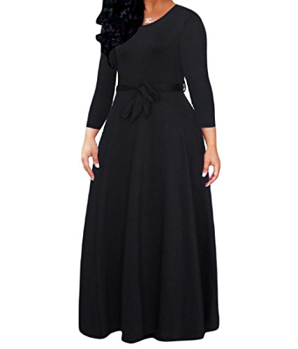4 Coolred Plus Black 3 Dresses Long Women Size Maxi Sleeve Tunic O Neck Solid 8xInw8Or1q