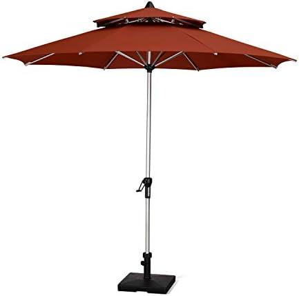 PURPLE LEAF 9 Feet Double Top Deluxe Patio Umbrella Outdoor Market Umbrella Garden Umbrella, Brick Red