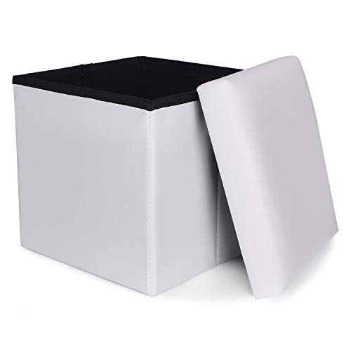 RONSTA Storage Ottoman, Foldable Cube Ottoman with Storage for Children, Foot Rest, Cloth Foot Stools and Ottomans with Memory Foam and PU Leather Seat 12