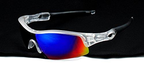 Sport Full Shield Color Mirrored Lens Wrap Around Sunglasses - Lock Radar Path