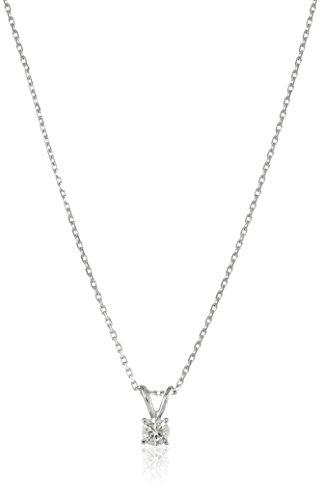 "14k White Gold Round-Cut Diamond Solitaire Pendant Necklace (1/4 cttw, K-L Color, I1-I2 Clarity), 18"""