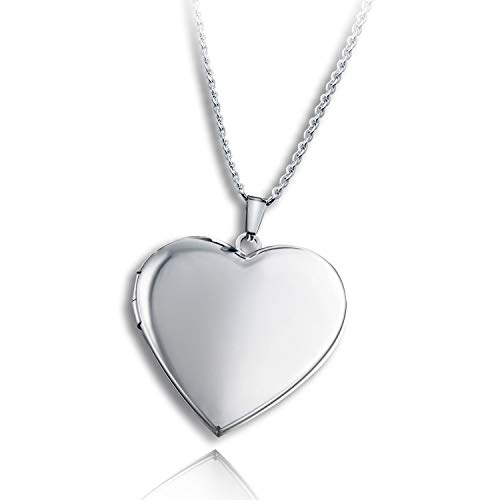 PHOCKSIN Polished Heart Locket Pendant Necklace That Holds Pictures for Women