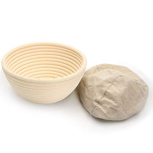 BetterJonny - Round Oval Long Various Size Artisan Brotform Bannetons Bread Dough Proofing Rattan Basket & Liner Combo (#2 Round 7