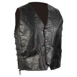 Diamond Plate Hand-Sewn Pebble Grain Genuine Leather Biker Vest- XL]()