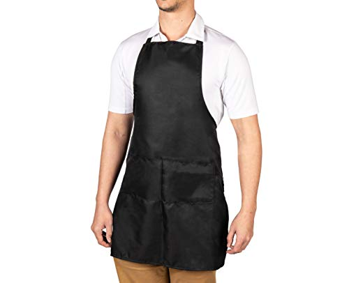 5 Pack of Black Aprons for Women & Men With Pockets - Waitress Aprons, Server Aprons, Adjustable Bib Apron, BBQ Cooking Apron 100% polyester