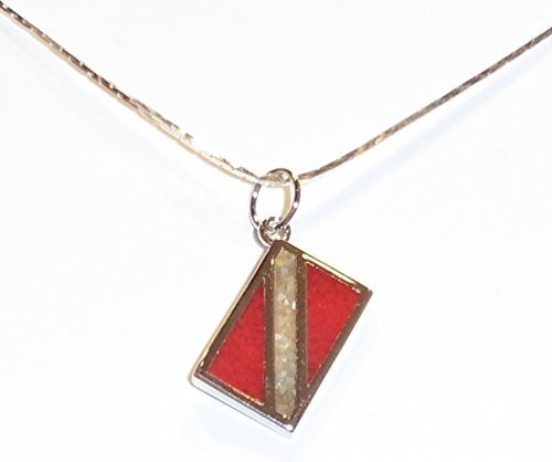 Dive Flag Pendant - Tarnish-Free Rhodium-Plated Bronze, with Inlay of Simulated Red Coral and Mother-of-Pearl Chips, on Rhodium-Plated Brass Chain (16 Inches)