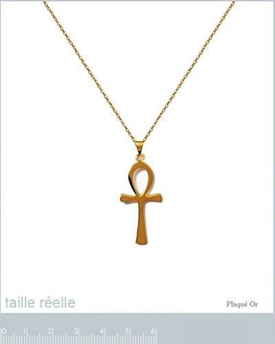 Lot Pendentif Croix de Vie Anck Plaqué Or 18 carats + Chaîne 50cm Plaqué Or