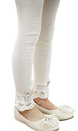 (EachEver Kids Girls Cotton Spring Fall Leggings Pants with Bowknot Lace Trim Rhinestone 3-11 Years White 10T )