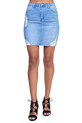 Calilogo Women's Junior Denim Jean Distress Mini Skirt