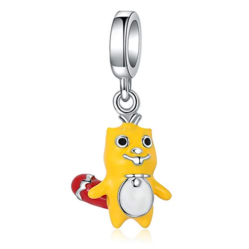 Stepforward Yellow Enamel 925 Sterling Silver Boy Beaver Charm Fit Bracelet and Necklace Lovely Animal Charm