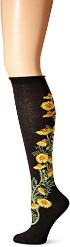 High Floral Knee Socks - Ozone Women's Chamomile Apothecary Florals Knee High Sock, Black, 9-11