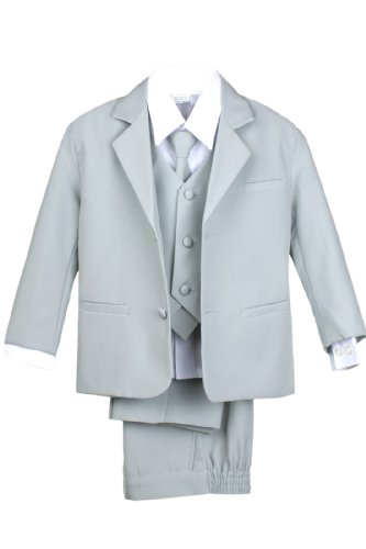 Leadertux 5pc Boys Formal Wedding Light Gray Vest Necktie Sets Suits Outfit S-20 (S:(0-6 months))