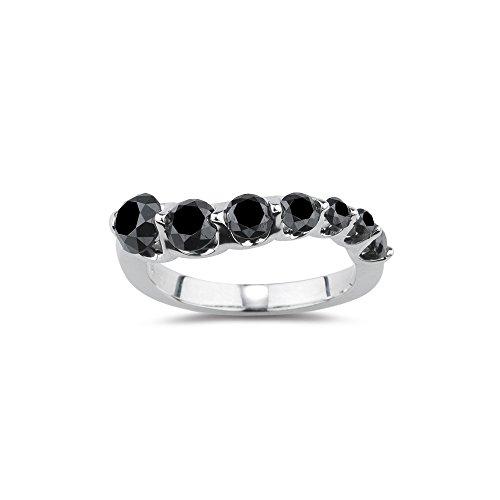 Vogati 2.00 Cts Black Diamond Journey Ring in 14K White Gold - Valentine's Day ()