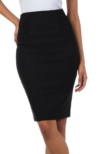 Sakkas Petite High Waist Stretch Pencil Skirt with Shirred Waist Detail medium Black