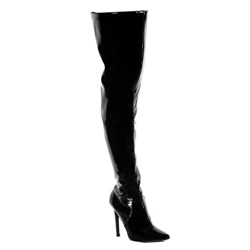 Angkorly Women's Fashion Shoes Thigh Boot Boots - Stiletto - Wellignton Rain Boots - Thigh Boot - Shiny - Patent Stiletto High Heel 11 cm Black d4czIeq8y