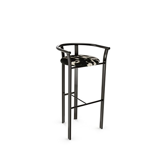 Amisco Lolo Metal Counter Stool in Semi-transparent Gun Metal Finish and Soft Black and White Faux Cowhide Fabric