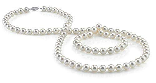 "THE PEARL SOURCE 7-8mm AAA Quality Round White Freshwater Cultured Pearl Necklace for Women in 36"" Opera Length"