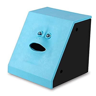 Face Coin Bank Sunsbell Money Eating Coin Bank Battery Powered Monkey Saving Box - Blue by Sunsbell: Toys & Games