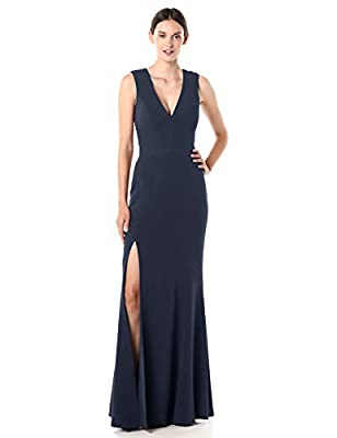 Dress the Population Women's Sandra Plunging Thick Strap Solid Gown with Slit Dress