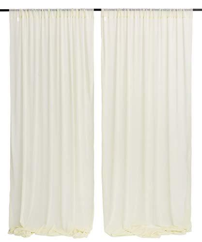 Ivory Sheer Chiffon Backdrop Drapes 9.8ftx10ft Panels Curtains Photo Backdrop Wedding Party Events Decoration Background