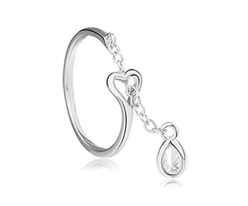 Adjustable Rings for Women Drop Open Ring Heart Engagement Ring Platinum Plated