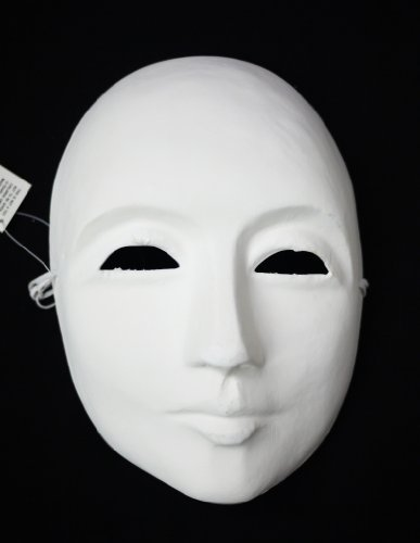 Men's Undecorated Blank White Venetian Whole Face - White Mask Wall
