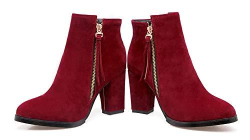 Chaussures À Franges Talon Haut Femme Aisun Rouge Rétro Bottines Chunky rdBeoCx