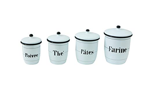 Creative Co-Op Enameled White Canisters with French Writing & Black Rims (Set of 4 Sizes) ()