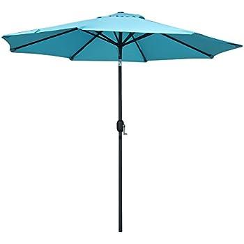 SNAIL 10 Ft Outdoor Large Patio Umbrella Garden Table Hole Aluminum Umbrella  Sunshade With Push Button