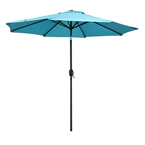 Snail 10 ft Outdoor Large Patio Umbrella Garden Table Hole Aluminum Umbrella Sunshade with Push Button Tilt, 8 Ribs, Blue (Patio Sale Tilting Umbrellas)